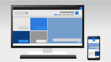 هاتف وكمبيوتر يعرضان موقع اتصال SharePoint Online