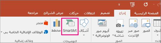 """إظهار الزر """"SmartArt"""" في علامة التبويب """"إدراج"""""""