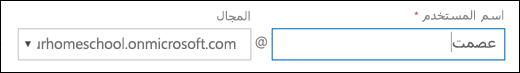 لقطه شاشه ل# اضافه مستخدم في Office 365، تظهر حقول اسم المستخدم و# المجال.