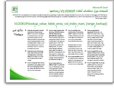 صورة مصغرة لبطاقة VLOOKUP للتلميحات حول استكشاف الأخطاء وإصلاحها