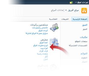 """تحديد """"أنواع محتويات الموقع"""" من النافذة """"إعدادات الموقع"""""""