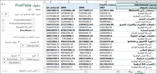 جدول PivotTable يعرض بيانات نموذجية