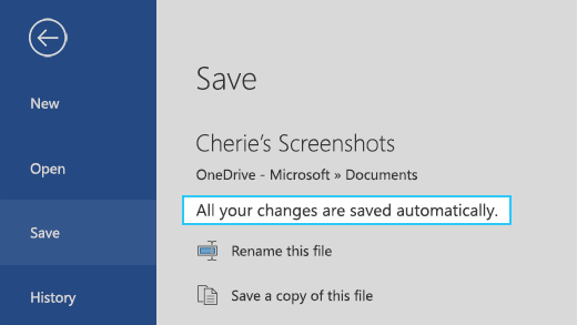 """يعرض الرسالة الموجودة في ملف Microsoft Word محفوظ على السحابة مع تشغيل الحفظ التلقائي التي تقول """"سيتم حفظ جميع التغييرات الخاصة بك تلقائيًا"""""""