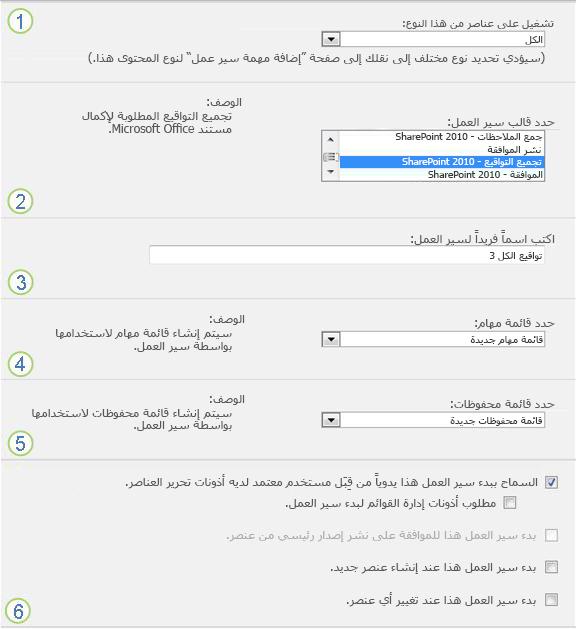 الصفحة الأولى من نموذج الاقتران لقائمة أو مكتبة واحدة