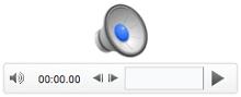 أيقونة الصوت وعناصر التحكم في التشغيل الموجودة في PowerPoint for Mac 2011