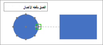 يعرض الشكل الهدف تلميح الاداات: اللصق بنقطه الاتصال