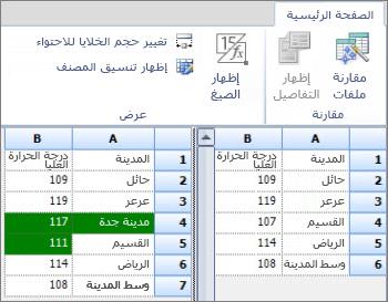 نتائج المقارنة من بيانات Access المصدّرة