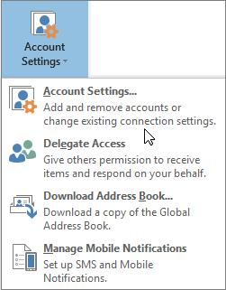 الخيارات المتوفره عند اختيار اعدادات الحساب في Outlook
