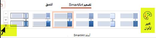 يمكنك تغيير لون الرسم أو نمطه باستخدام الخيارات الموجودة في علامة التبويب تصميم SmartArt علي الشريط.