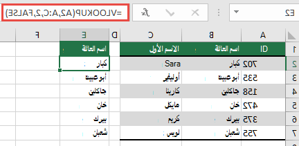 استخدم VLOOKUP التقليدي مع مرجع lookup_value: =VLOOKUP(A2,A:C,32,FALSE). لن ترجع هذه الصيغة صفيفا ديناميكيا، ولكن يمكن استخدامها مع Excel الجداول.