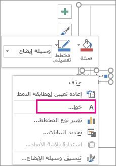 """الأمر """"الخط"""" في القائمة المختصرة المستخدمة لتغيير خط وسيلة إيضاح المخطط"""
