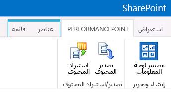 """الشريط للصفحة """"محتوى PerformancePoint"""" في موقع """"مركز المعلومات المهنية"""""""