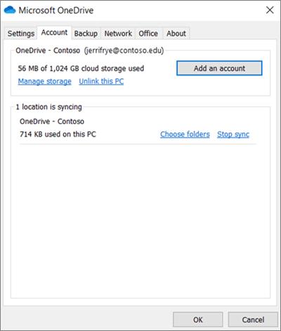 """النافذة """"إعدادات سطح المكتب"""" في OneDrive حيث يمكنك أضافه حساب"""