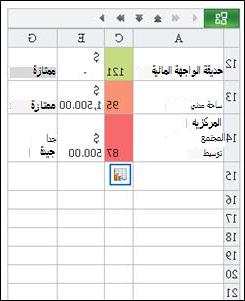 صف تم العثور عليه في Mobile Viewer for Excel