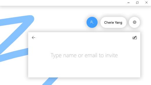 """يعرض حقل """"إضافة شخص"""" في Microsoft Whiteboard."""