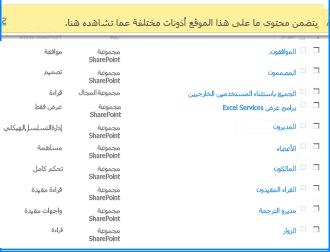 """لقطة شاشة للصفحة """"أذونات الموقع"""" على SharePoint Online. يتم تمييز شريط الرسالة في الأعلى للإشارة إلى أن بعض المجموعات لا ترث الأذونات من الموقع الأصل"""
