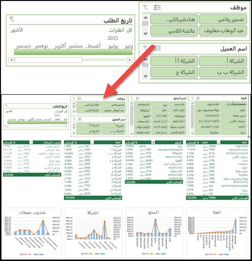 عرض مفصل ل# مقسمات طرق العرض و# عنصر تحكم الخط زمني في لوحه معلومات