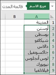 النطاق المسمى محدد ويوجد اسم في مربع العنوان