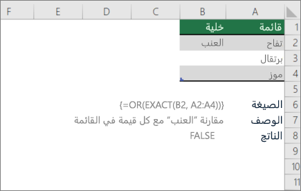 مثال يستخدم الدالتين OR و EXACT لمقارنه قيمه واحده بقائمه من القيم