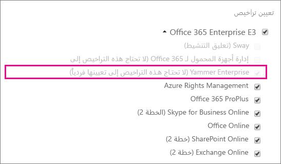 لقطة شاشة لمقطع «تعيين التراخيص» من مركز إدارة Office 365، وقد تم تحديد ترخيص Yammer Enterprise.