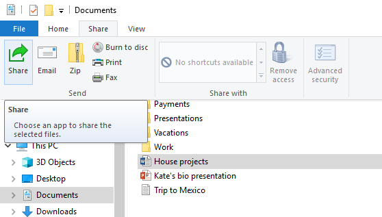 Where to find the Share button in File Explorer on Windows 10
