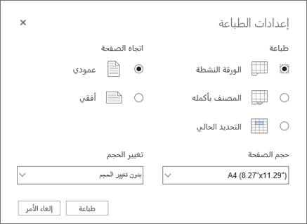خيارات اعدادات الطباعه بعد النقر فوق ملف > طباعه