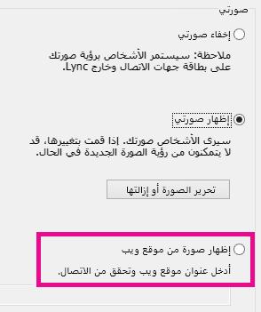 """لقطة شاشة لنافذة خيارات """"صورتي"""" في Lync مع تمييز خيار تحديد صورة من موقع ويب"""