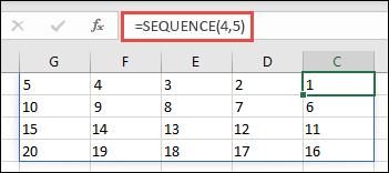 مثال الدالة SEQUENCE مع صفيف 4 × 5
