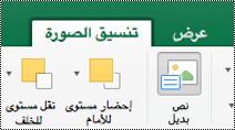 """الزر """"نص بديل"""" للصور الموجودة علي الشريط في Excel for Mac"""