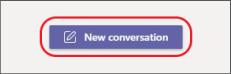 """الزر """"محادثة جديدة مركز عليه"""""""