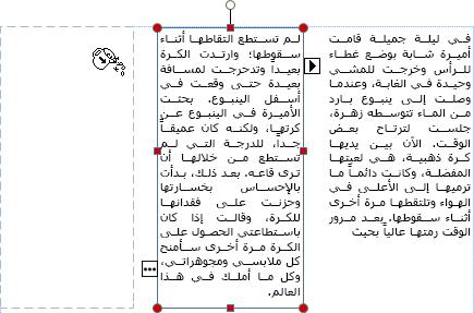 لقطة شاشة لمربع نص مع جاهزية إدخال تجاوز النص في مربع نص آخر.