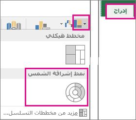 """نوع مخطط حلقي على علامة التبويب """"إدراج"""" في Office 2016 for Windows"""
