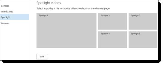 """صفحة """"إعدادات قناة الفيديو"""" - ملفات الفيديو البارزة"""
