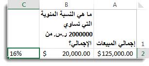 125000 ر.س. في الخلية a2، و20000 ر.س. في الخلية b2، و16% في الخلية c2