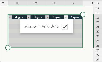 جدول، مع تحديد خانة الاختيار «يحتوي الجدول على رؤوس»