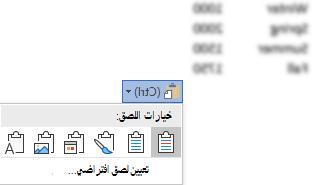 الزر خيارات اللصق، الي جانب بعض بيانات Excel، قد تم توسيعها ل# اظهار الخيارات