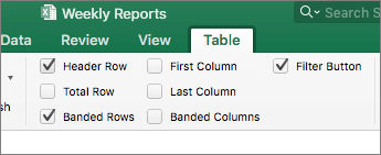 """لقطة شاشة لمجموعة """"خيارات أنماط الجدول""""، على علامة التبويب «جدول» مع تحديد خانات الاختيار"""