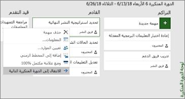 لوحة دورة متكررة وقائمة تضم الأوامر ذات الصلة بالمهمة المتوفرة