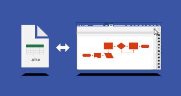 رسم Visio التخطيطي ومصنف Excel مع سهم ثنائي الرأس بينهما