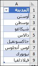"""جدول Excel المستخدم كمصدر قائمة """"التحقق من صحة البيانات"""""""