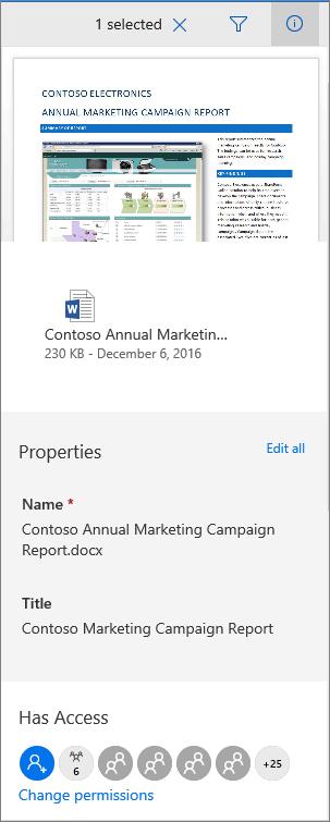 لوحه بيانات تعريف مستندات Office 365