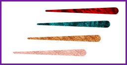 يعرض أربعة من عينات ألوان الحبر، الحمم والمحيط وبرونزي وذهبي وردي.