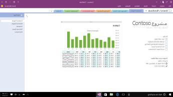 """دفتر ملاحظات OneNote يعرض صفحة """"مشروع Contoso"""" توضح قائمة مهام ومخطط شريطي لنظرة عامة حول المصروفات الشهرية."""