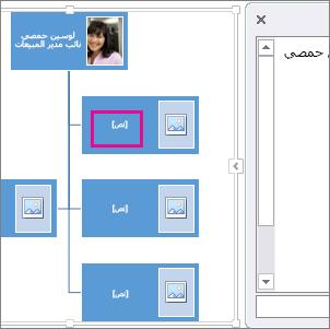 مخطط هيكلي بصور SmartArt مع تمييز مربع عليه لإظهار المكان الذي يمكنك إدخال نص فيه