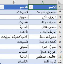 قائمة الموظفين حسب القسم المطلوب فرزها