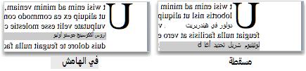 أحرف كبيرة تم إسقاطها وكتابتها في الهامش