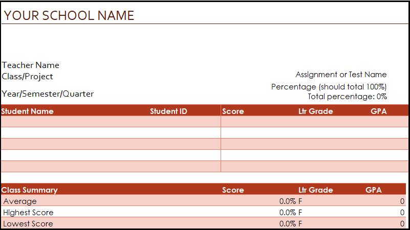 لقطة شاشة لقالب دفتر الدرجات