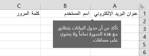 عناوين الخلايا في ملف ترحيل Excel