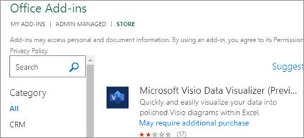 """إظهار الوظائف الإضافية """"عرض مرئي للبيانات"""" في Excel"""