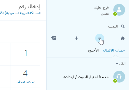 لقطة شاشة تُظهر مكان إجراء مكالمة هاتفية باستخدام Skype